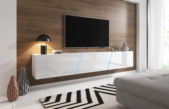 Tv Meubel Design.Bol Com Zwevend Tv Meubel Hoogglans Wit 240 Cm Led Clean Design