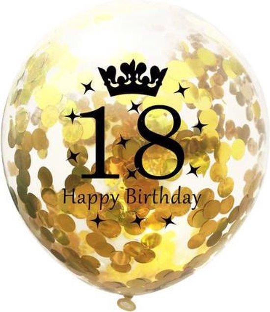 18 Jaar Ballonnen Set - Confetti - 5 stuks - Verjaardag Feest - Versiering - Goud - 30cm