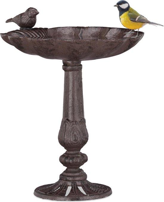 relaxdays vogelbad - gietijzer - waterschaal - vogeldrinkschaal - drinkbak - vogel - voet