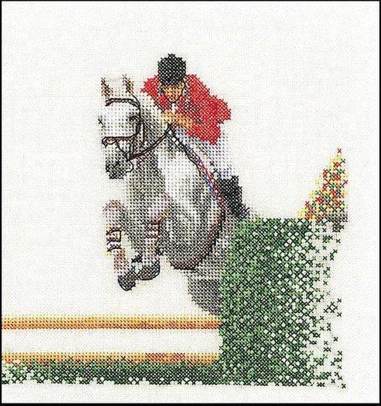 Thea Gouverneur Borduurpakket 3090 Show Jumping - Linnen stof