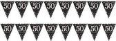 2x 50 jaar vlaggenlijnen zwart 4 meter - Abraham/Sarah feestartikelen versiering