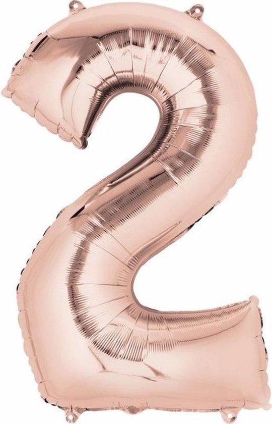 Folie ballon cijfer 2 rose goud