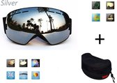Ski bril + hard case lens Smoke Zilver frame Zwart F type 7 Cat. 0 tot 4 - ☀/☁ extra lens is optie.
