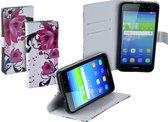 Bloemen design TPU bookcase hoes voor Huawei Y6 wallet cover