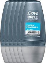 Dove Men+Care Deodorant Roller Clean Comfort 6 x 50 ml - Voordeelverpakking