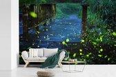 Vuurvliegjes over een brug fotobehang vinyl 450x300 cm - Foto print op behang