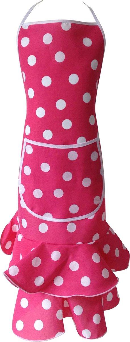 Spaanse schort - Flamenco - keukenschort roze wit Luxe verkleedkleding - Spaansejurk NL