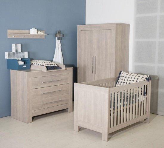 Product: Bebies First - Babykamer Nevada - 3-delige - Ledikant - Commode - Kledingkast - Grijs, van het merk Bebies First