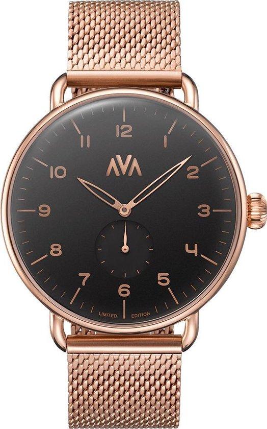 AVA Fríge Rosaguld•Svart – Unisex Horloge – Staal – Rosékleurig – Ø 43mm – Limited Edition