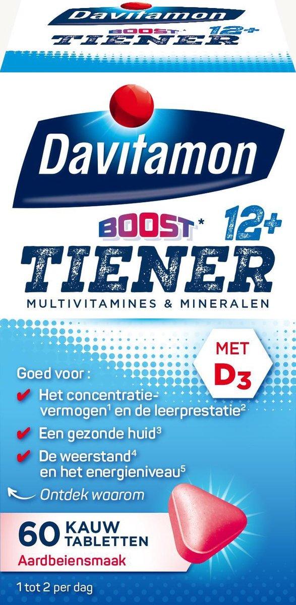 Davitamon Multi Boost 12+ Kauwvitamines - multivitamine - aardbei - 60 tabletten