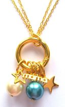 Jewellicious Designs Gold & Aqua Mama ketting - collier - verwisselbaar - geboortecadeau - goudkleurig aqua