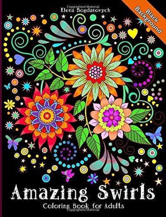 Afbeelding van Amazing Swirls Black Background Coloring book for adults