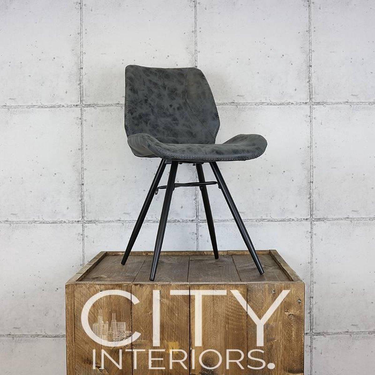 Industriële eetkamerstoel Hetson zwart - City interiors