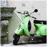 scooter - Klok - Vierkant - MDF - 30x30 cm - groen