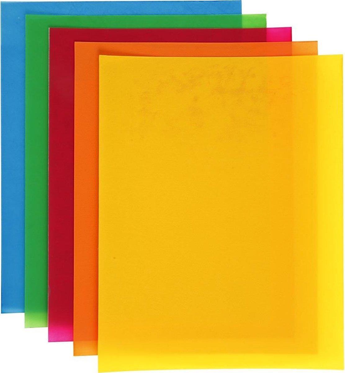 Krimpfolie vellen, vel 20x30 cm, sterke kleuren, 10 assorti vel - Creotime