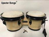 "Specter Bongo, hardhout, 6,5""+7,5"", natural licht | wereldmuziek percussie . & donker, natuurvel, chrome hardware | tommel"