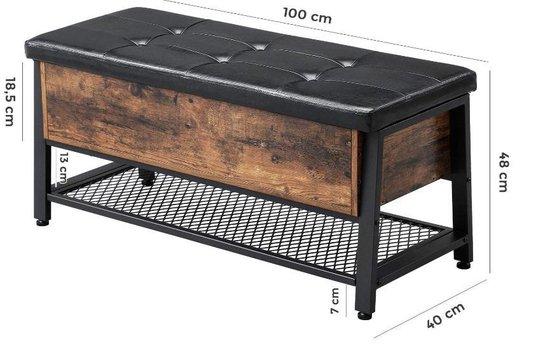 MIRA Home – Schoenenbank - Zitbank met opbergruimte - Industrieel - Metaal/Hout - Bruin/Zwart - 48x100x40