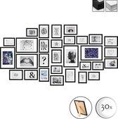 bomoe Emotion Set van 30 Houten Fotolijsten - 10x 10,5x15cm / 15x 13x18cm / 5x 20x30cm - Plexiglas Fotolijst van Hout - Standaard & Passepartout - Metalen Ophanging - Zwart
