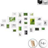 bomoe Nature Set van 24 Houten Fotolijsten  - 10x 10,5x15cm / 8x 13x18cm / 4x 15x20cm / 2x 20x30cm - Plexiglas Fotolijst van Hout - Standaard & Passepartout - Metalen Ophanging - Wit