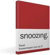 Snoozing - Flanel - Kussenslopen - Set van 2 - 60x70 cm - Rood