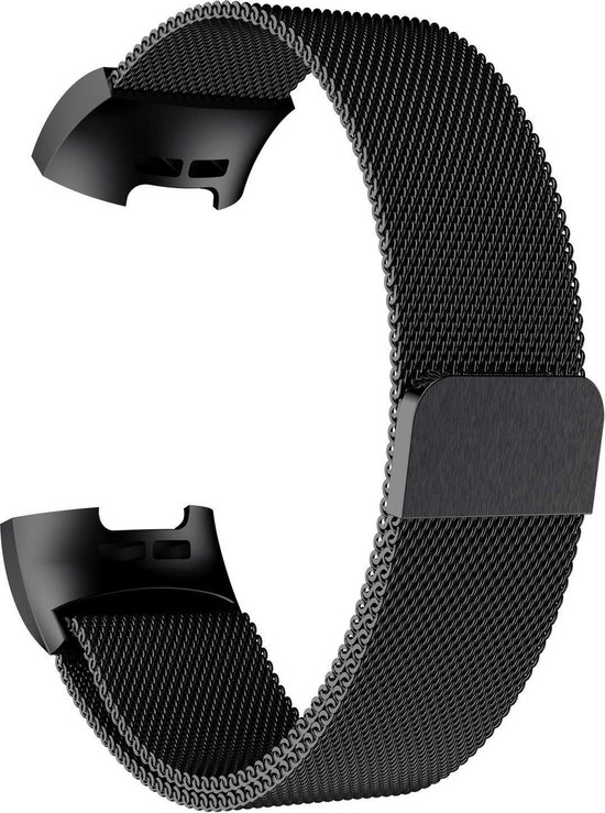 Gymston® Milanees bandje - Fitbit Charge 3 - Fitbit Charge 4 - Zwart - Medium