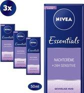 NIVEA Essentials Sensitive - 3 x 50 ml - Nachtcrème