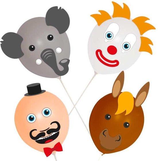 Ballon gezichten circus set  met stickers