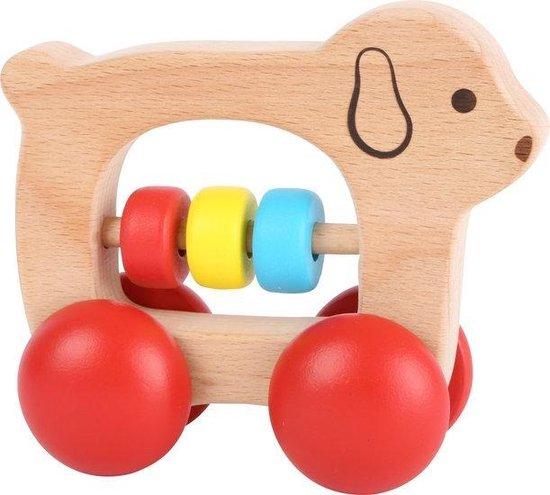 Houten grijpspeelgoed baby - hondje bijtring op wielen - Houten baby speelgoed vanaf 0 jaar