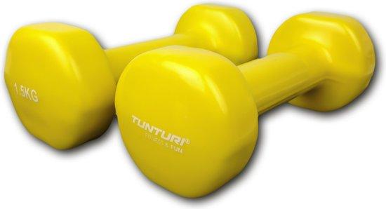Tunturi Dumbell set - 2 x 1,5 kg - Vinyl - Geel - Tunturi