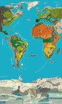 Poster Wereldkaart -Hanneke de Jager - Multikleur - 80 x 140 cm- Fotoprint - art print - wanddecoratie - print