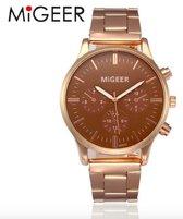 Hidzo Horloge Migeer ø 37 mm - Goud/Bruin - Inclusief horlogedoosje