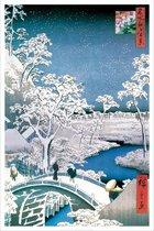 Hiroshige kunst Japans winters Drum en setting Hill Bridge poster 61x91.5cm.