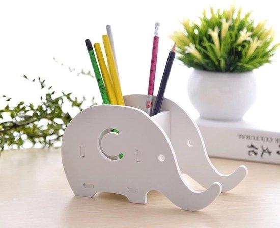 Bureau Organizer - Pennenbakje - Eco-Vriendelijk - Houten Pennenbakje Met Smartphone Houder - - Fusive