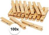 Houten wasknijpers - 100 stuks - voordelige knijpers / wasspelden