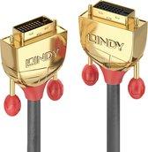 Lindy 36212 DVI kabel 2 m DVI-D Goud, Grijs, Rood
