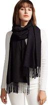 Dames Sjaal - Zijdezachte Sjaal – Zwart - 200cm