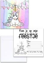 Uitnodiging Kinderfeestje Eenhoorn - Unicorn - Kinder - Regenboog - 10 stuks