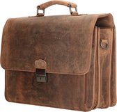 Old West Waco - Leren Aktetas / Laptoptas 15,6 inch - Vintage Bruin