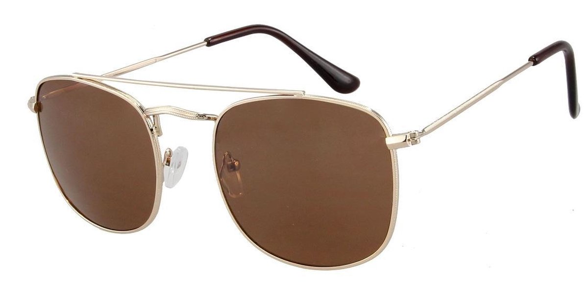 Zonnebril Piloot Vierkant - Aviator Square Sunglasses - UV 400 bescherming - Bruine Glazen 55mm - Goudkleurig montuur - Dielay - Dielay