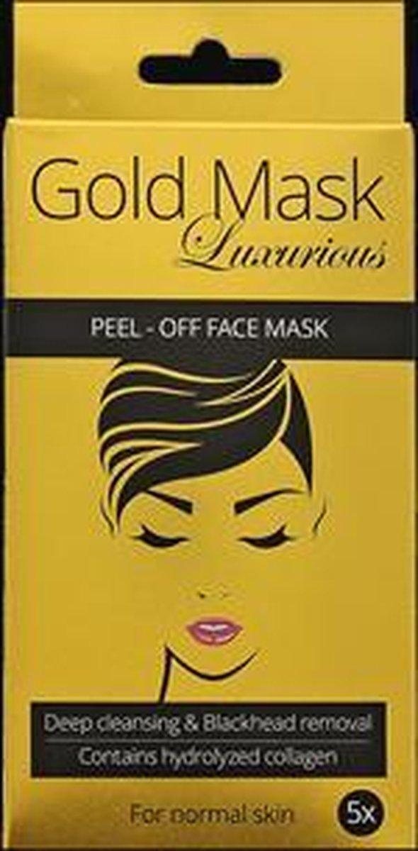 Gouden gezichtsmasker | Peel-off | Gehydrolyseerd Collageen | Q10 | Anti-ageing | Verzorgend | Hydraterend | 5 stuks - ACTION