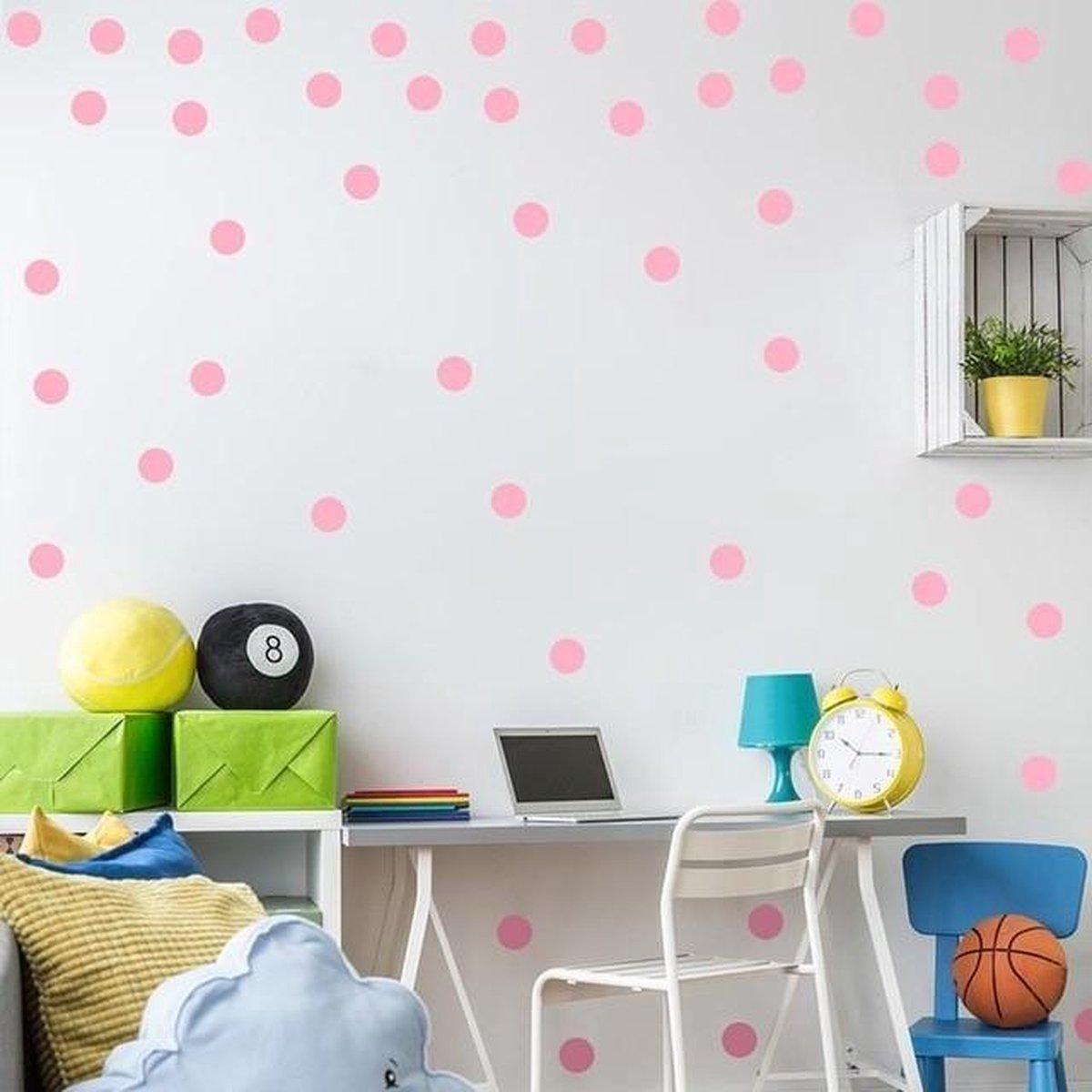 3 CM - 54 stuks - Roze stippen muursticker  Muursticker Pink Dots - Hoge kwaliteit stickers voor op de muur   Wanddecoratie Stickers   Stickers voor kinderen   Muurversiering voor kinderen   Versiering voor kinderkamer