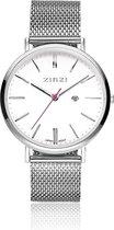 ZINZI ZIW406M - Horloge - Zilverkleurig - 38 mm + gratis Zinzi armbandje