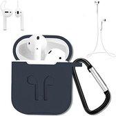 3 in 1 set! Hoesje voor Airpods siliconen case cover beschermhoes + strap + earhoox - navy blauw