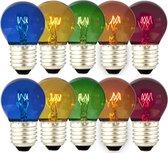 10 stuks - Calex Party Kogellamp gekleurd 15W E27 5 kleuren