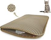Kattenbakmat - Katten - Dubbele laag kattenbakvulling - Mat trapper - Opvang ruimte - Kattengrit opvanger - Honingraat - Waterdicht - Ademend - Creamy White - Leren rand - Maat 40 x 50 - Beige - Eco-friendly