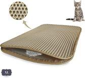 Moowi kattenbakmat - Maat XL 46 x 65 cm - Katten - Dubbele laag kattenbakvulling - Mat trapper - Opvang ruimte - Kattengrit opvanger - Honingraat - Waterdicht - Ademend - Creamy White - Leren rand - Beige - Eco-friendly