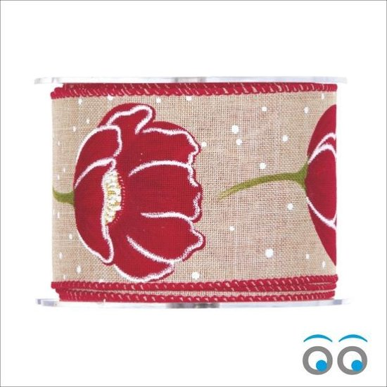 Tulp Lint rood - jute met draad (10 meter)