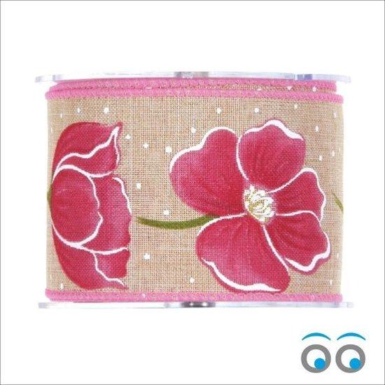 Tulp Lint Pink - jute met draad (10 meter)