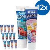 Oral B Stages Cars/Princess - Voordeelverpakking 12x75ml - Tandpasta