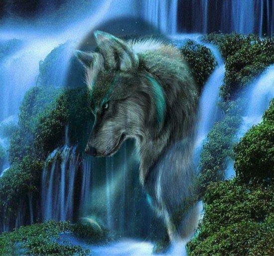 Afbeelding van Diamond Painting 5D Borduurwerk, 20x30 cm Volledige ronde Diamanten Wolf en Waterval speelgoed
